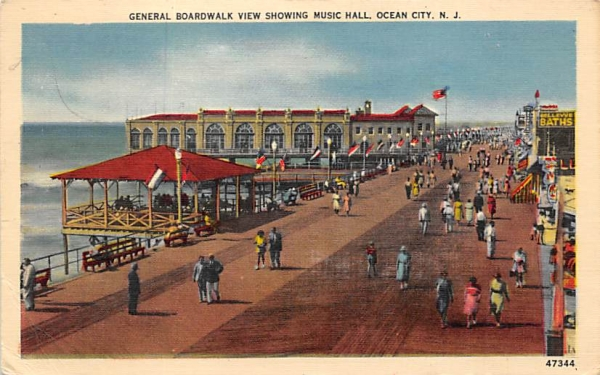 General Boardwalk View showing Music Hall Ocean City, New Jersey Postcard