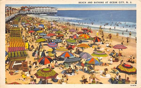 Beach and Bathing Ocean City, New Jersey Postcard