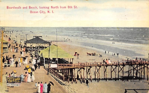 Boardwalk and Beach, looking North from 8th St. Ocean City, New Jersey Postcard