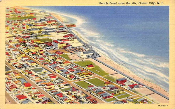 Beach Front from the Air Ocean City, New Jersey Postcard