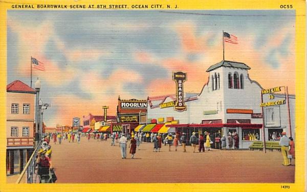 General Boardwalk Scene at 8th Street Ocean City, New Jersey Postcard