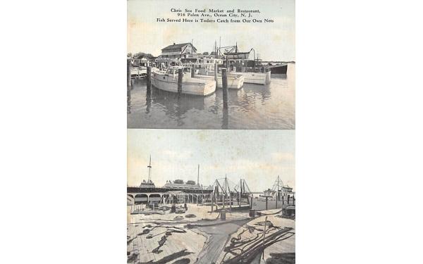 Chris Sea Food Market and Restaurant Ocean City, New Jersey Postcard