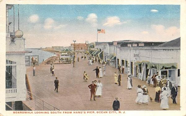 Boardwalk Looking South from Hand's Pier Ocean City, New Jersey Postcard