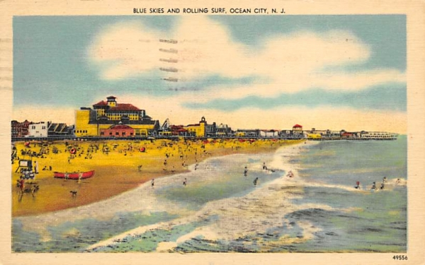 Blue Skies and Rolling Surf Ocean City, New Jersey Postcard