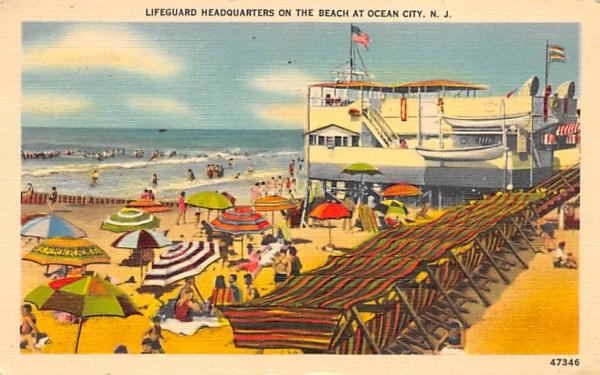 Lifeguard Headquarters on the Beach Ocean City, New Jersey Postcard
