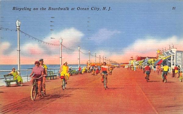 Bicylcing on the Boardwalk  Ocean City, New Jersey Postcard