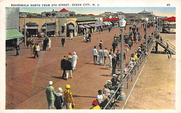 Boardwalk North From 8th Street Ocean City, New Jersey Postcard