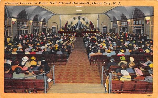 Evening Concert in Music Hall Ocean City, New Jersey Postcard