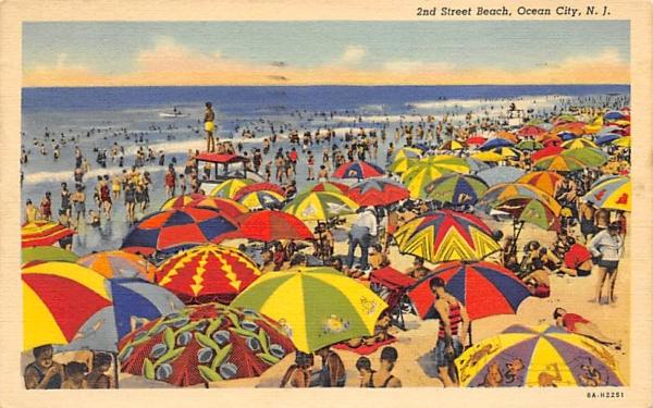 2nd Street Beach Ocean City, New Jersey Postcard