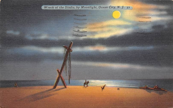 Wreck of the Sindia, by Moonlight Ocean City, New Jersey Postcard