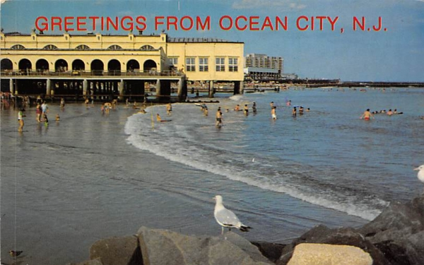 Birdseye View of the surf and Music Pier Ocean City, New Jersey Postcard