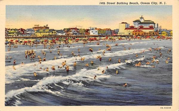 14th Street Bathing Beach Ocean City, New Jersey Postcard