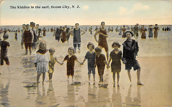 The Kiddies in the Surf Ocean City, New Jersey Postcard