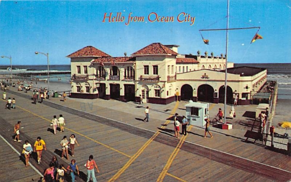 The view shows the Boardwalk and the music pier Ocean City, New Jersey Postcard