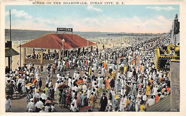 Scene on the Boardwalk  Ocean City, New Jersey Postcard