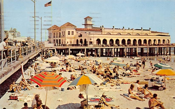 Colorful Beach and Well Known Music Pier Ocean City, New Jersey Postcard