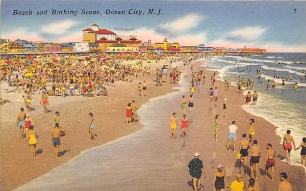 Beach and Bathing Scene Ocean City, New Jersey Postcard