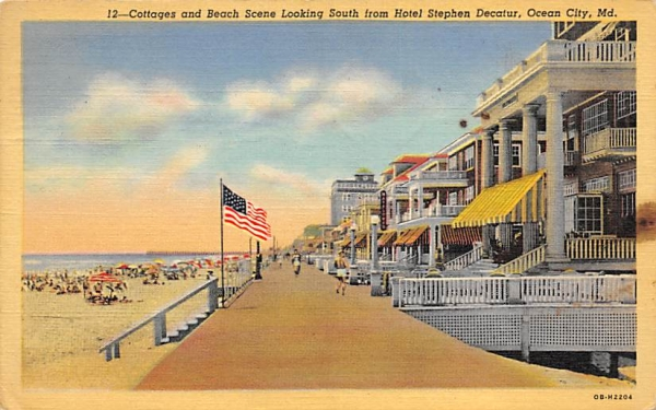 Cottages and Beach Scene Ocean City, New Jersey Postcard