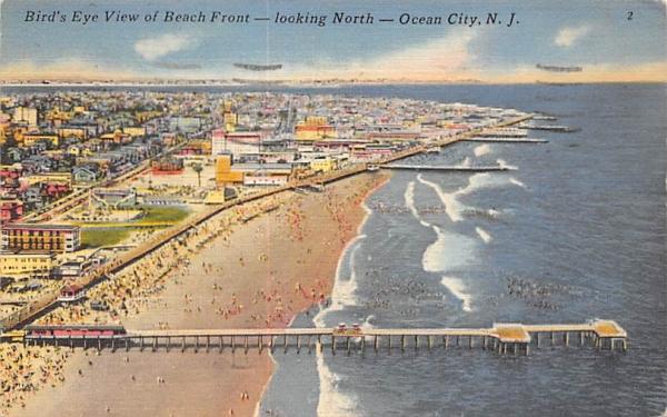 Bird's Eye View of Beach Front Ocean City, New Jersey Postcard