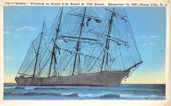 Sindia, Wrecked on Ocean City New Jersey Postcard
