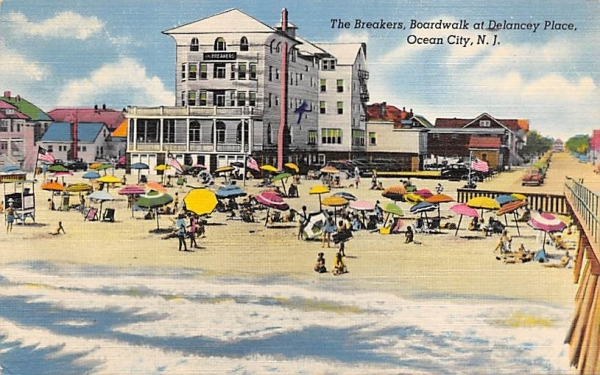 The Breakers, Boardwalk at Delancey Place Ocean City, New Jersey Postcard