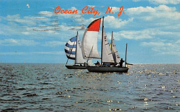 Under Full Sail on Sparkling Water Ocean City, New Jersey Postcard