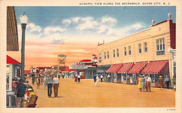 General View Along the Boardwalk Ocean City, New Jersey Postcard