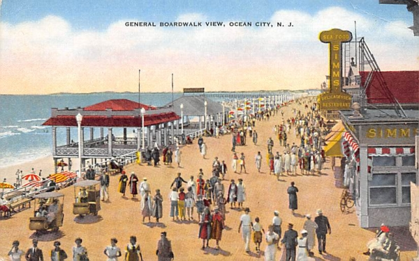 General Boardwalk View Ocean City, New Jersey Postcard