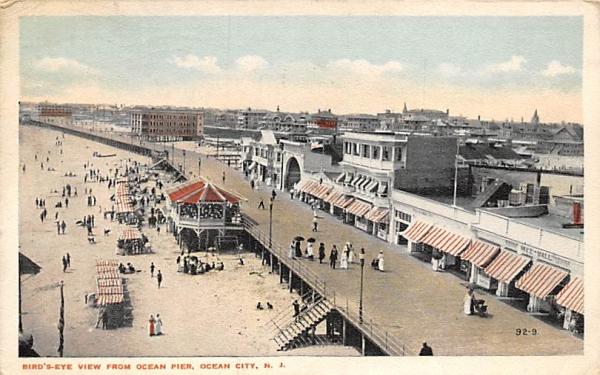 Bird's-Eye View from Ocean Pier Ocean City, New Jersey Postcard