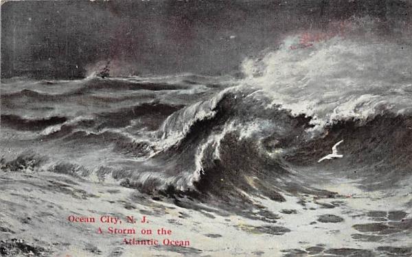 A Storm on the Atlantic Ocean Ocean City, New Jersey Postcard