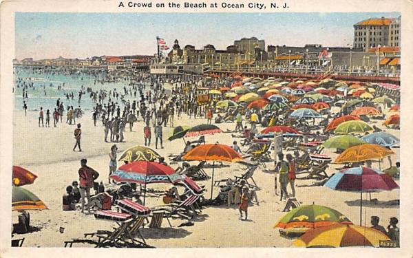 A Crowd on the Beach  Ocean City, New Jersey Postcard