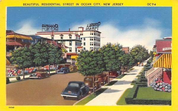 Beautiful Residential Street  Ocean City, New Jersey Postcard