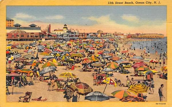 13th Street Beach Ocean City, New Jersey Postcard