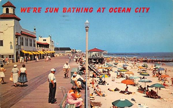 We're Sun Bathing at Ocean City New Jersey Postcard