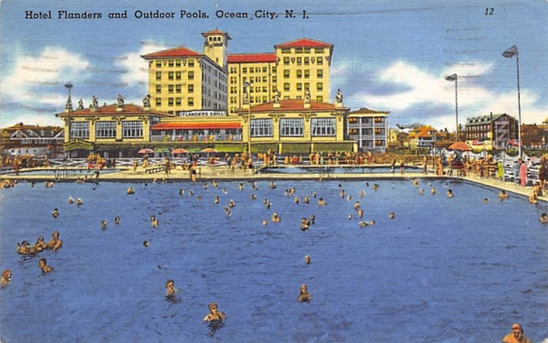 Hotel Flanders and Outdoor Pools Ocean City, New Jersey Postcard