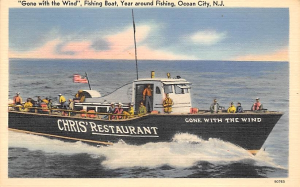 Gone with the Wind, Fishing Boat Ocean City, New Jersey Postcard