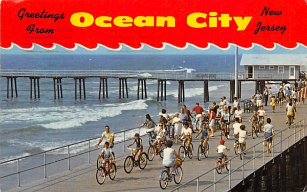 Bicycling on the Boardwalk Ocean City, New Jersey Postcard