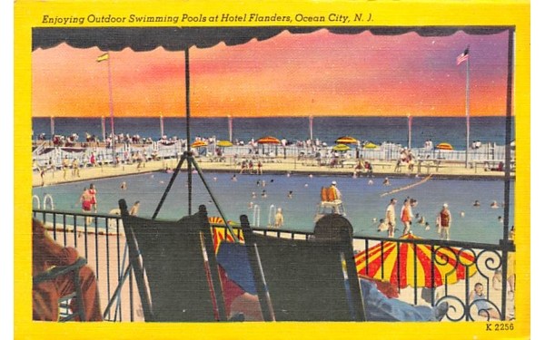 Swimming Pools at Hotel Flanders Ocean City, New Jersey Postcard