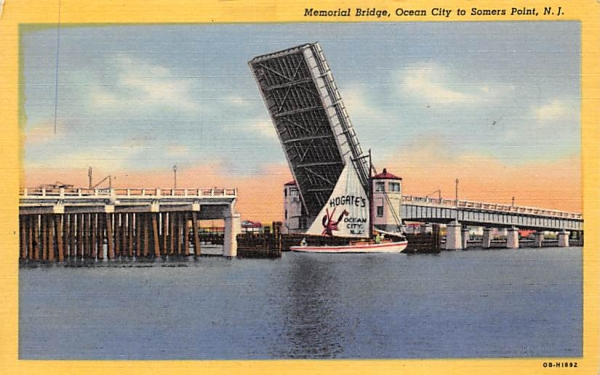 Memorial Bridge Ocean City, New Jersey Postcard