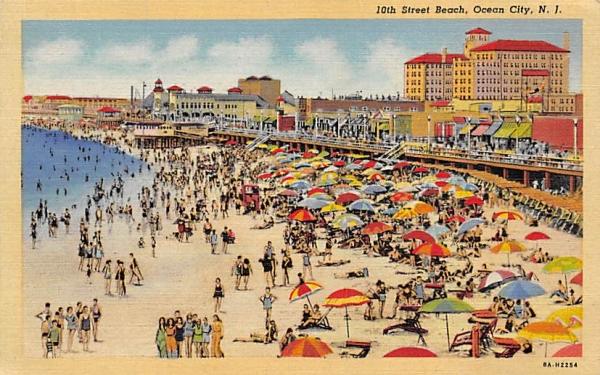 10th Street Beach Ocean City, New Jersey Postcard