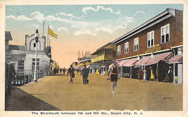 The Boardwalk between 7th and 8th Sts. Ocean City, New Jersey Postcard