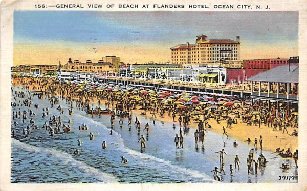 General View of Beach at Flanders Hotel Ocean City, New Jersey Postcard