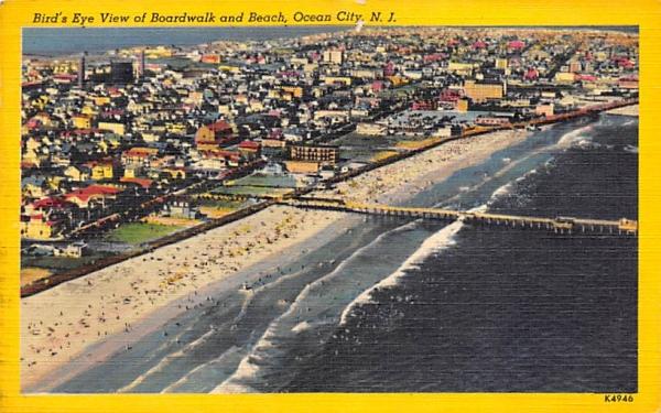 Bird's Eye View of Boardwalk and Beach Ocean City, New Jersey Postcard