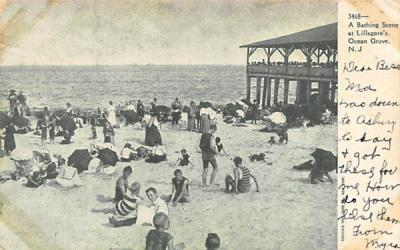 A Bathing Scene at Lillagore's  Ocean Grove, New Jersey Postcard