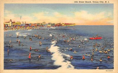14th Street Beach Ocean City, New Jersey Postcard