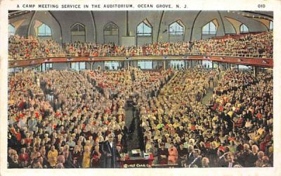 A Camp Meeting Service in the Auditorium Ocean Grove, New Jersey Postcard