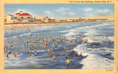 14th Street Surf Bathing Ocean City, New Jersey Postcard
