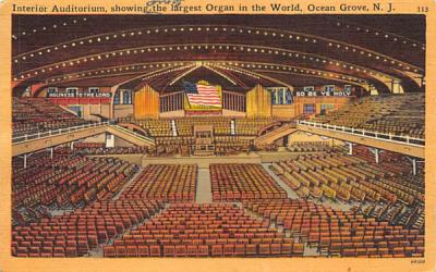 The Largest Organ in the World Ocean Grove, New Jersey Postcard