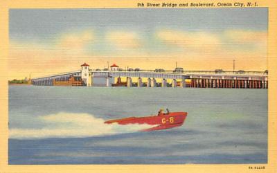 9th Street Bridge and Boulevard Ocean City, New Jersey Postcard