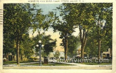 Scene In City Hall Park  - Perth Amboy, New Jersey NJ Postcard